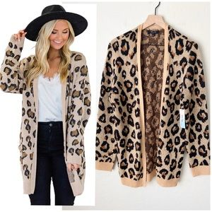 NWT Witty fox leopard print open front sweater XL